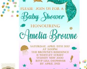 Mermaid Baby Shower Invitation - Baby Shower Invitation - Baby Shower Printable - Baby Shower