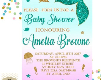 Mermaid Baby Shower Invitation   Baby Shower Invitation   Baby Shower  Printable   Baby Shower