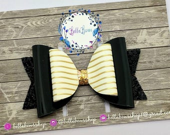 """Black/Gold Pin Stripes hair Bow-Baby Hair bow-Alligator Clip-Baby Headband-Photo Prop-Chunky Glitter-Faux Leather-3.5"""" hair bow"""