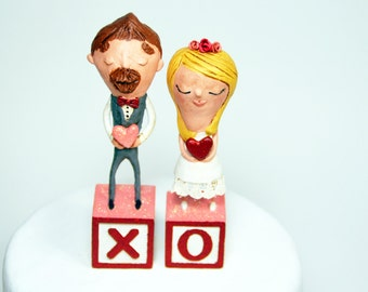 Joyful Bride & Groom Cake Topper Set - One of a Kind Sculpted Figurines