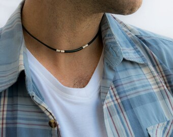 Men's Necklace - Men's Choker Necklace - Men's Leather Necklace - Men's Jewelry - Men's Gift - Boyfriend Gift - Guys Jewelry - Husband NL1