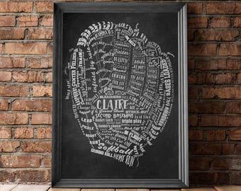 SOFTBALL Gifts BASEBALL Gifts PERSONALIZED Baseball Mitt Artwork Softball Mitt Wall Art Softball Coach Gift Baseball Coach Gift Softball Mom