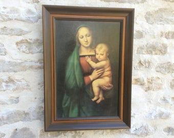 Madonna del Granduca, Raphaël. Framed Old Masters print, Religious Print Virgin Mary & Infant Jesus Picture, Catholic Christian Art