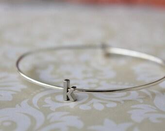 Tiny Silver Lowercase Initial Bangle Bracelet - Personalized Letter Bracelet Bridesmaid Gift - Minimalist Jewelry - Modern Bangle - Trendy