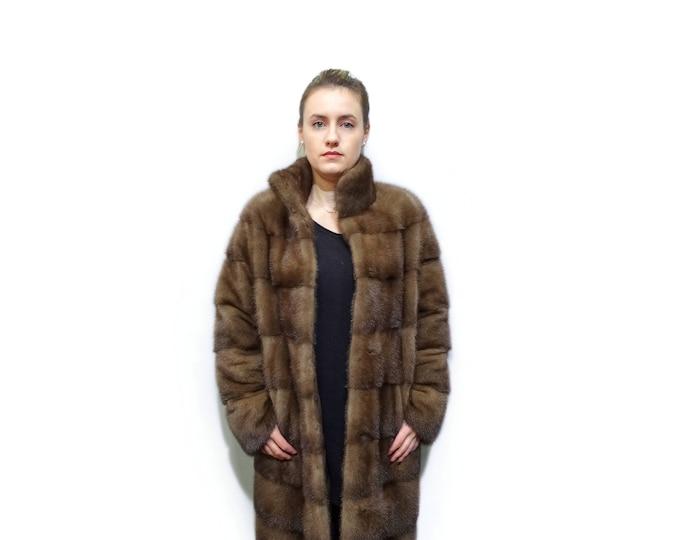 Brown Long Fur Coat, Real Mink Fur Coat F784