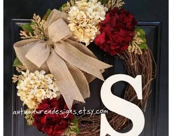 YEAR ROUND Door Decor, Everyday Wreaths, Winter Wreath for Front Door, Wreath, Hydrangea Wreath