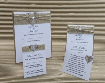 20 Rustic hessian lace heart wedding evening invitations A6 size with C6 white or ivory envelopes