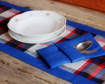Blue Chequered Linen Table Runner, Handmade Linen Table Cloth, Rustic Decor, 100% Pure Flax Linen, Mitered Corners
