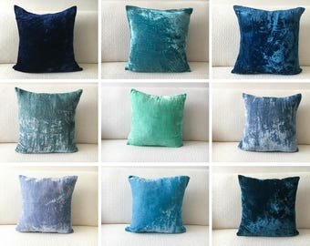 Blue Velvet Pillow covers 20x20 26x26 Euro Sham, Teal Pillow 18x18, Navy Blue Pillow 16x16, Turquoise Pillowcase 24x24, Peacock Blue pillow