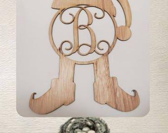 Elf Monogram  /Christmas/  Laser Cut Wood
