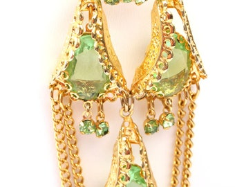 Gold Tone and Green Rhinestone Park Lane Set, Vintage 1960s