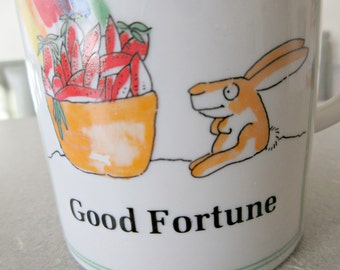 Vintage Mug, Good Fortune Mug, Ceramic Cup, Rabbit and Rainbow, Coffee Cup, Cute Kawaii Zakka, 1970s Enesco Mug, Friendship Gift, 1970s Mug