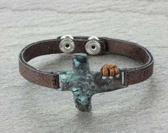 Cross Leather Bracelet - Patina