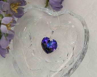 Swarovski Heart pendant,Purple heart necklace,Swarovski Heart,Valentine's Day heart,Valentine's Day gift,Crystal heart pendant