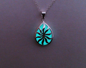 Easter jewelry etsy easter gifts gift aqua glowing jewelry teardrop glow in the dark pendant negle Image collections