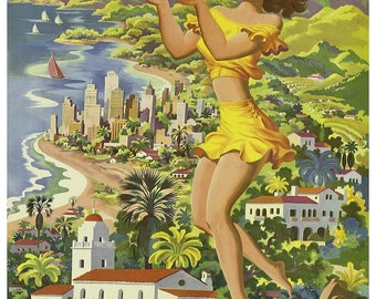 Vintage Southern California United Airlines Travel Poster Print