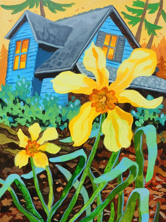 Daffodil, daffodils, mountain cabin, cabin, cottage, painting of a cabin, yellow flowers, cabin in the woods, cottage in the woods, print