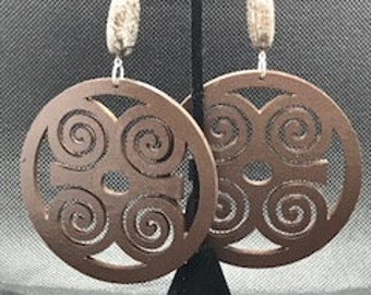 Large Brown Dwennimmen Circle Earrings
