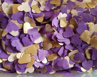 Lilac ( purple) and Gold heart confetti !Wedding ,party table decoration,throwing ! Romantic Autumn colours Biodegradable 2- 10 handfuls