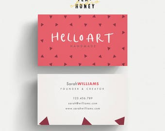 Creative business card, fun quirky design, triangles pattern, Red and white, Handmade business card, Modern calling card, unique name card
