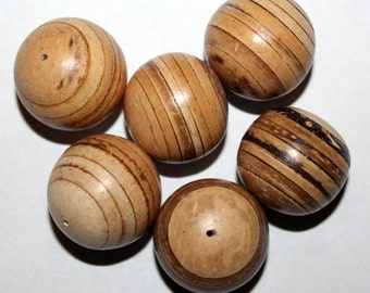 22 MM Natural Wood Jewelry Making Beads Package of 6 New Old Stock Wood Tones