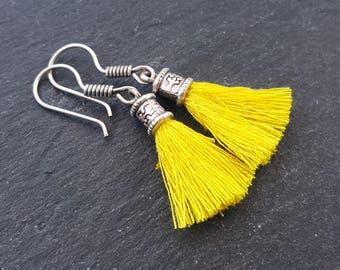 Mini Yellow Tassel Drop Earrings Bohemian Boho Style Light Comfortable Daytime Jewelry Authentic Turkish Style