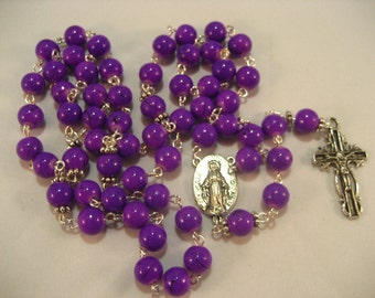 Purple Glass Bead Rosary,Rosary,Rosary Chain,Catholic Rosary, Catholic,Rosary Supplies,Rosaries,Rosary Necklace, Prayer Beads,rosary beads
