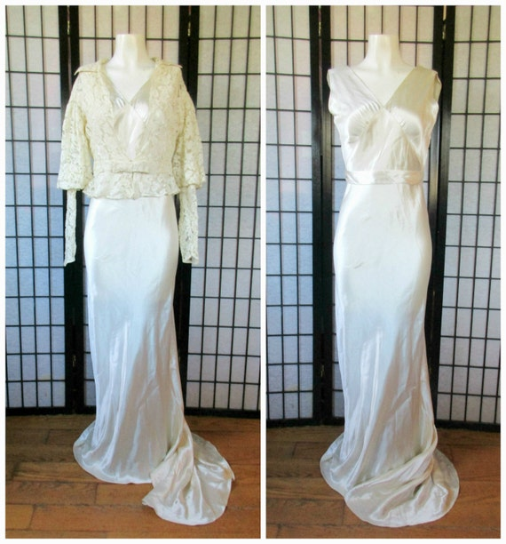 Vintage 30s Wedding Gown 1930s Bride Silk Charmeuse with Lace