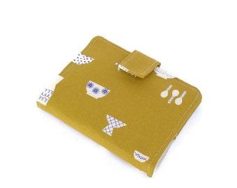 Business Card Wallet, Women Card Holder, Citron Green Oriental Bowls, Loyalty Card Holder, Farbric Card Wallet, Gift for her, Gift For Women