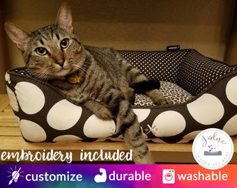 Cozy Cat Bed | Bed is Reversible & Washable!  Brown, Natural, Polka Dot, Leopard
