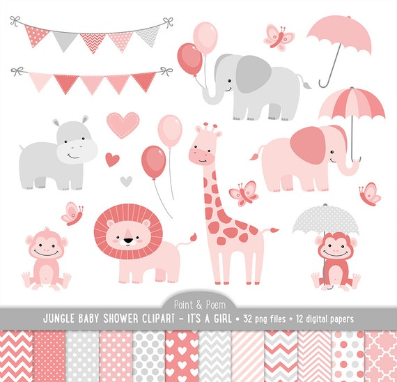 jungle clip art animals baby shower clipart it s a girl rh etsy com baby shower clipart girl border baby girl baby shower clipart