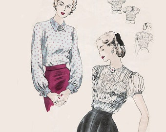 Vintage 1940s Tailored Blouse Front & Back Shirring French Cuffs Sewing Pattern Vogue 6315 40s Swing Era Pattern Size 12 Bust 32