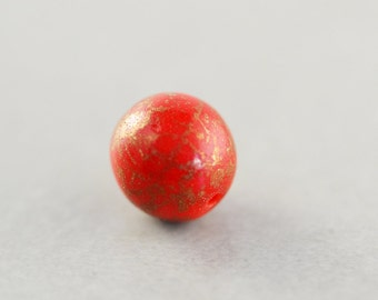 Red Vintage Bead, 10mm Round Red Bead, Acrylic Bead, One