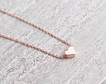 Tiny Rose Gold Heart Necklace, Tiny Heart Necklace, Rose Gold Heart Necklace, Mothers Day gift, Gift for Mom, Mother Gift Bijoux Minimaliste