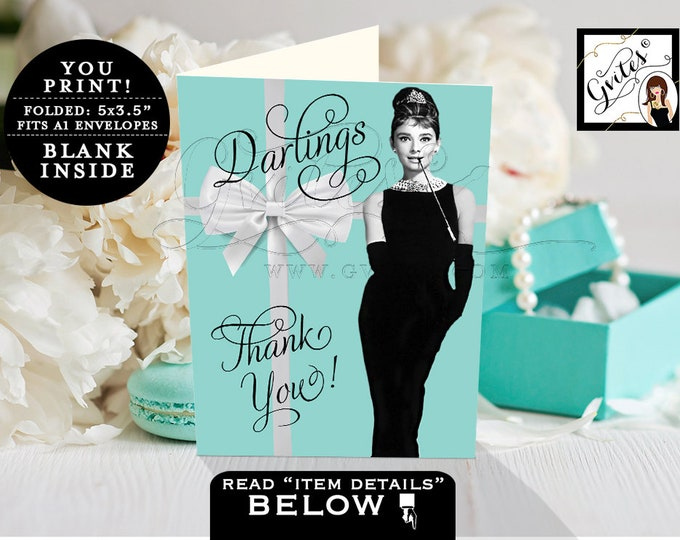 "Breakfast Bridal Shower Thank You Cards, bridal shower, birthday, Audrey Hepburn INSTANT Download, 3.5x5""/2 Per Sheet {Blank INSIDE}"