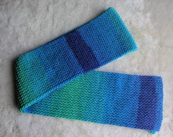 Handmade winter scarf, muffler, blue green color scarf,zic zac rib knit scarf, reversible knit scarf, simple long knit scarf