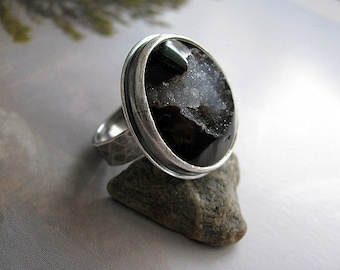 Sterling Silver Ring, Large Round Drusy Ring, Handmade Sterling Silver Ring Size US 8, Black Druzy and Silver