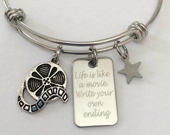 "Movie reel bracelet engraved ""life is like a Movie.  Write your own ending"" motivational bracelet"