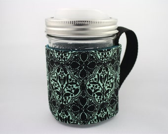 ReFluff, mason jar sleeve, mason jar cozy, eco friendly, flowers ,floral gift, damask,teal,eco gift, cuppow, starbucks,