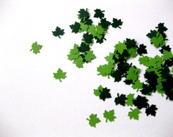 Mini Leaf Confetti - 100 Count Leaf Die Cuts Light Green Dark Green Leaves Autumn Fall Leaves