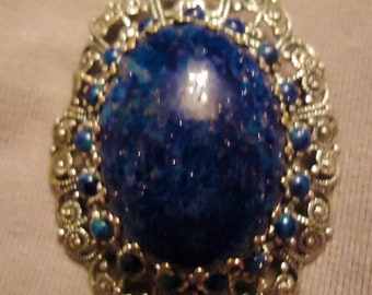 Vintage Women's West German Brooch pin faux blue lapis cabochon Silver tone filigree fashion ladies costume jewelry
