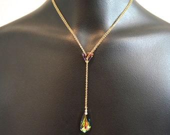 Swarovski crystal lariat necklace, Elegant lariat wedding necklace, Y necklace
