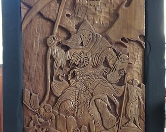 Hand carved Grim Reaper wood carving wall hanging