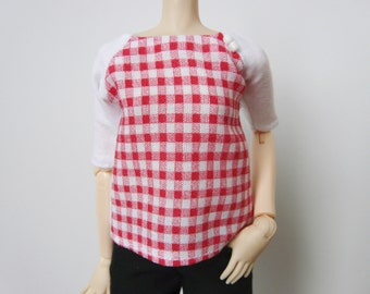 Red and white gingham blouse for Pullip / Momoko / 27cm Obitsu
