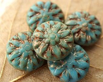 Maya Blue Dahlia, Flower Beads, Czech Beads, Beads, N2228