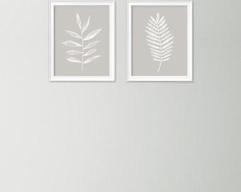Set of 2 leaf prints - Contemporary home decor - Beige art print - Printable leaf - Printable wall art - Beige and white art - Leaf doodle