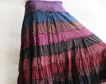 S3, Wavy Hippie Colorful Purple Cotton Skirt, violet skirt