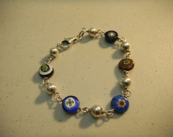 Millefiori Sterling Silver 925 Bracelet Glass Silver Beaded Made in Italy