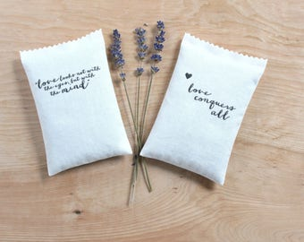 Shakespeare Quote Lavender Sachets, Valentines Day Literary Gifts, love conquers all, love looks not with the eyes, but with the mind