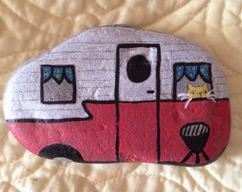 Vintage Camper with Cat in window hand painted river rock